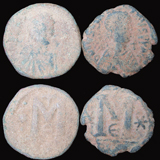 Two Uncleaned Byzantine Desert Patina Follis